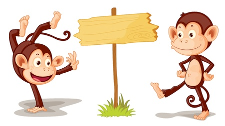 cartoon monkey: Two monkeys with sign illustration