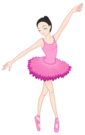 ballet tutu: Illustration of a ballerina pose on white