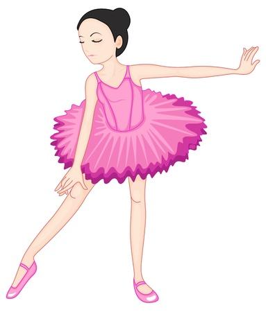Ilustración de una bailarina plantean en blanco