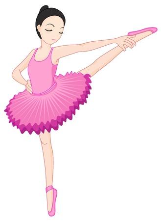 ballet tutu: Illustration of a ballerina pose on white