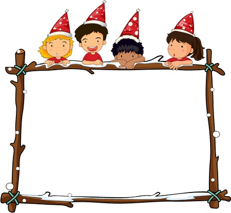 children group: Illustration of kids above a party banner Illustration