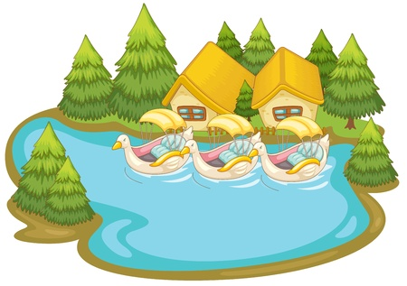 Illustraton of boats by holiday cabins Illustration