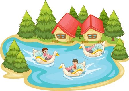 toy ducks: Ni�os jugando en el lago Vectores