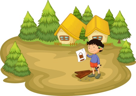 Young carpenter in the woods Vector