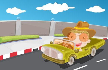 open road: Young boy driving a car on the highway Illustration