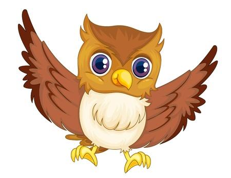 sowa: Ilustracja z izolowanym sowy komiczny Ilustracja