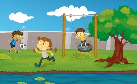 Kinderen spelen in het park Vector Illustratie