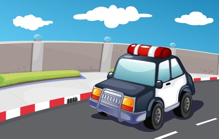 Police vehicle on the road Vector