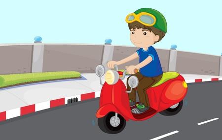 Jongen rijdt scooter op de weg