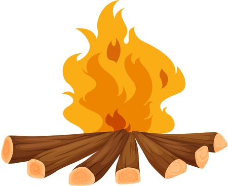 combustion: Illustration of a campfire on white