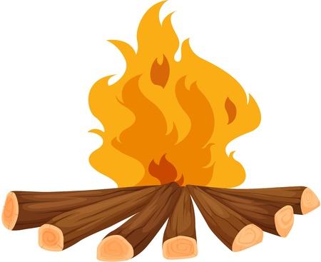 Illustrazione di un falò su bianco Vettoriali