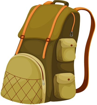 Schoolbag backpack on a white background Stock Vector - 13300456