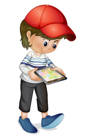 computer cartoon: Illustration of a girl using a tablet