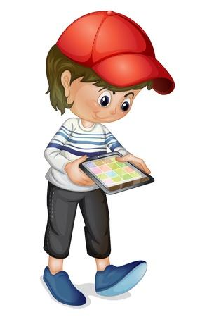 computadora caricatura: Ilustraci�n de una ni�a con una tableta Vectores