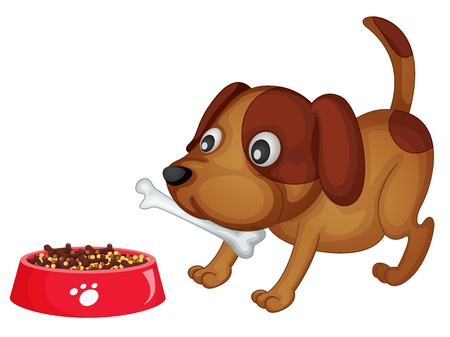 harmless: Illustration of a dog about to eat dinner