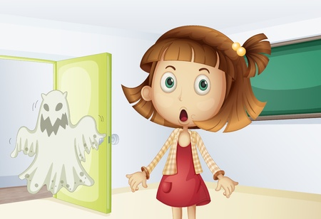 Girl shocked by a ghost Vector