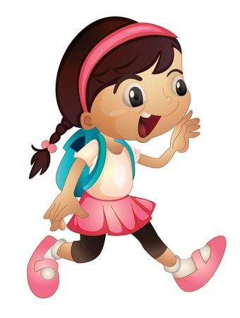 ni�os caminando: Ilustraci�n de una chica joven corriendo con el bolso