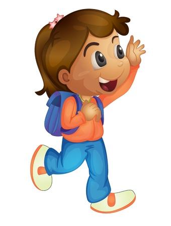 ni�os caminando: Ilustraci�n de agitar ni�a de la escuela Vectores