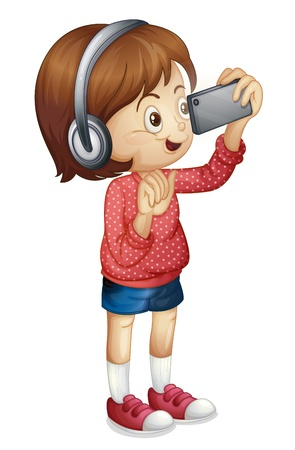 listening music: Illustration of a girl using a smart phone