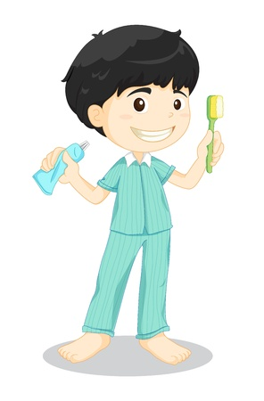 daily routine: Illustration of boy brushing teeth