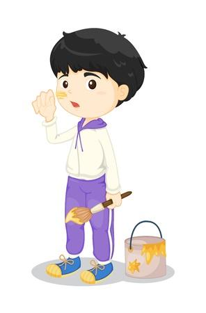 Illustration of boy painting on white