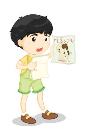 missing: Illustration of a boy with missing dog poster