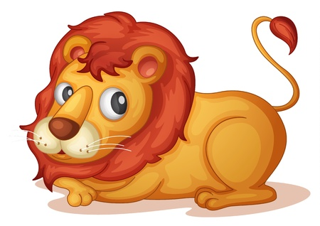 Illustration of isolated lion laying down Vector