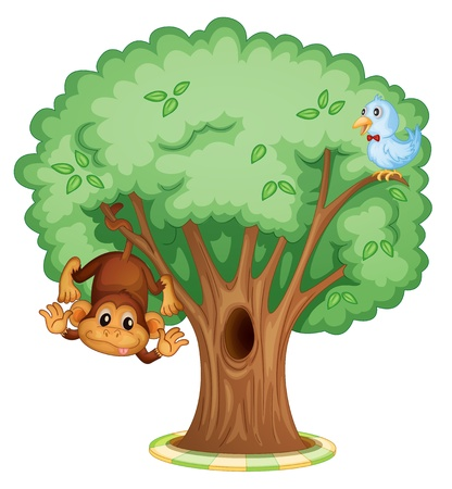 animal foot: Illustration of an isolated tree with animals