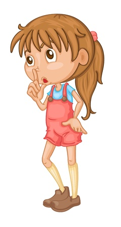 overalls: Illustration of a girl standing Illustration