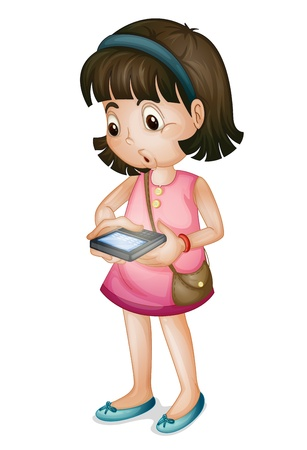 woman smartphone: Cute girl using smartphone on white background Illustration