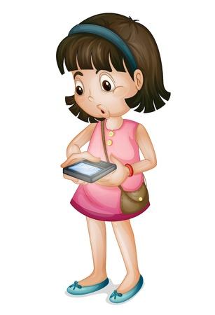 Linda chica con teléfonos inteligentes en el fondo blanco