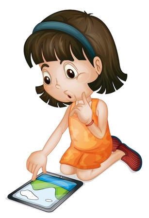 using smart phone: Illustration of a girl using a tablet computer