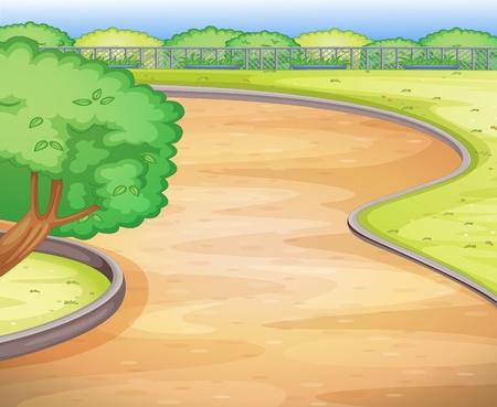 patio escuela: Ilustraci�n de un patio de la escuela vac�a