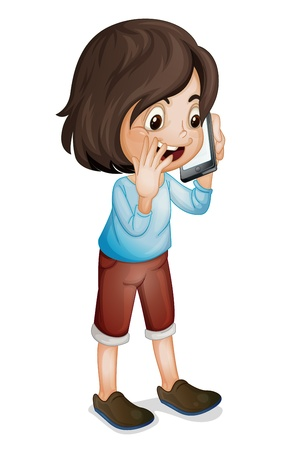 Illustration of a girl on  smartphone Vector