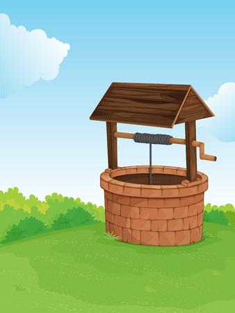 buisson: Illustration d'un puits sur une colline
