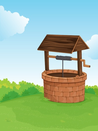 Illustration of a well on a hill Vector