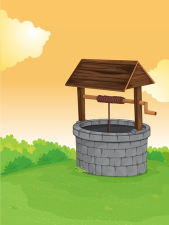 lanscape: Illustration of a well on a hill