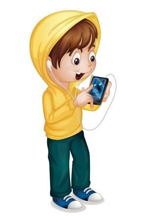 태블릿 PC를 사용하는 소년의 그림 일러스트