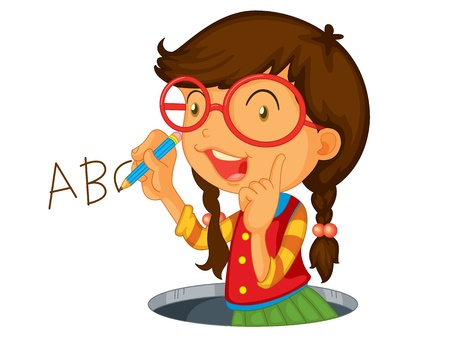 Girl writing abc on wall Illustration