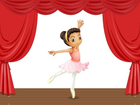 Ballerina on a stage with red curtains Illustration