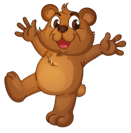 Teddy bear acting on a white background Vector