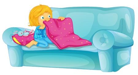conejo caricatura: Chica a punto de dormir en el sofá