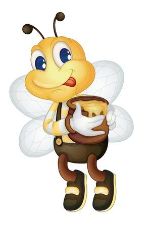 pot miel: Illustration d'une abeille avec un pot de miel Illustration