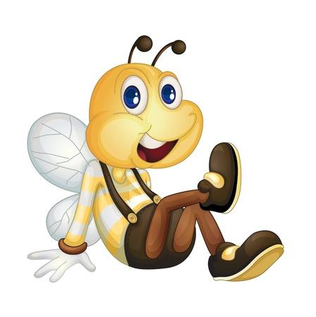 abeja caricatura: Abeja sentado en el suelo