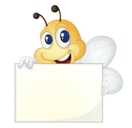abeja: Abeja linda con un cartel en blanco
