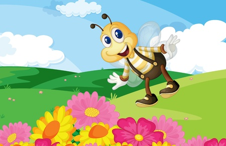 Cute bee in a flower field Stock Vector - 13376878