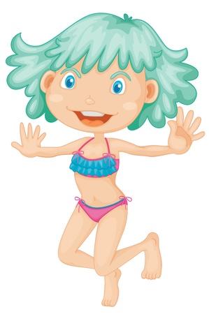 Linda chica en bikini de la ilustración