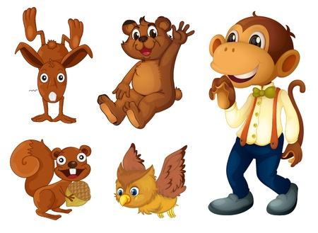 Collection of brown animals on white Vector