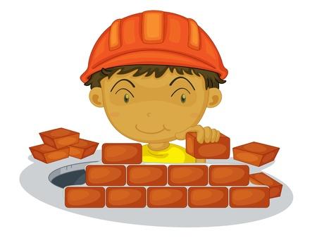 brick and mortar: Under construction boy on white background Illustration