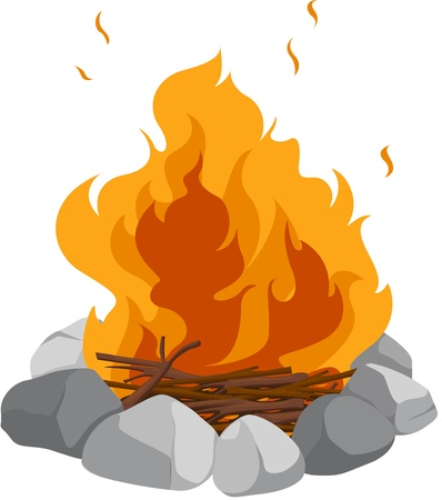 fire wood: Isolated campfire on a white background
